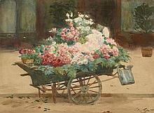Victor Gilbert Paris, 1847 - 1933 La charette de roses Aquarelle