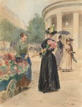 Victor Gilbert Paris, 1847 - 1933 La marchande de fleurs à la rotonde du parc Monceau, Paris Aquarelle gouachée sur trait de crayon,