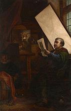 Joseph-Nicolas Robert-Fleury Cologne, 1797 - Paris, 1890 Rembrandt dans son atelier Huile sur toile (Toile d'origine),