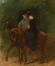 Edouard Detaille Paris, 1848 - 1912 Couple d'élégants à cheval Huile sur toile