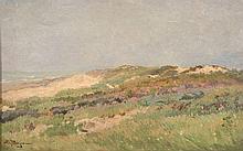 Edmond Petitjean Neufchâteau, 1844 - Paris, 1925 Dunes près d'un littoral Huile sur toile marouflée sur carton,