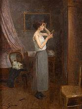Victor Gilbert Paris, 1847 - 1933 Jeune femme dans sa chambre se coiffant Huile sur panneau d'acajou, une planche,