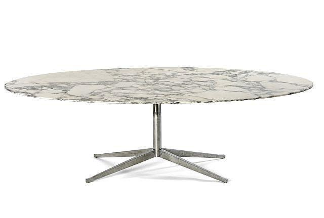 Florence knoll n e en 1917 table ovale mod 2480 96 cr a for Table knoll ovale marbre blanc