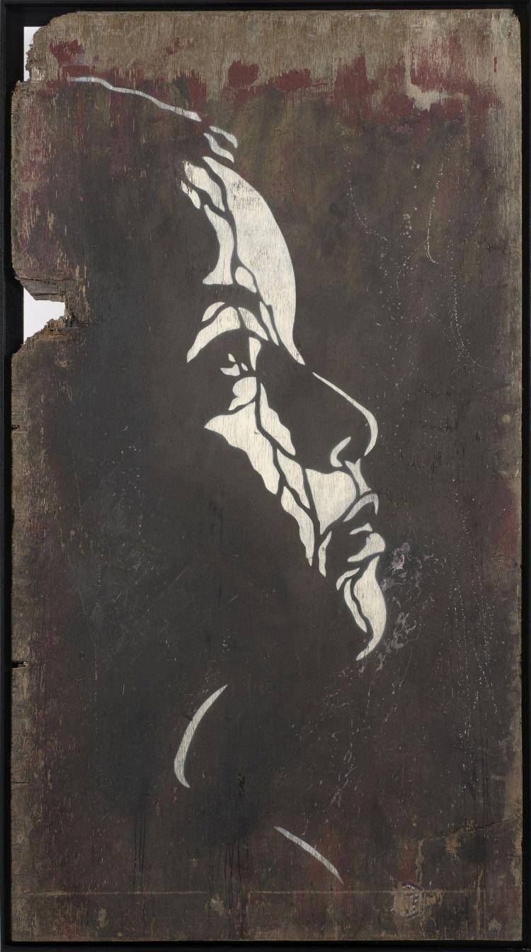 C215 fran ais n en 1973 sans titre profil pochoir et pei for Pochoir peinture