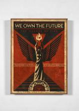 Shepard FAIREY (Alias OBEY GIANT) Américain - Né en 1970 We own the future - 2013 Technique mixte sur fond sérigraphié (HPM)