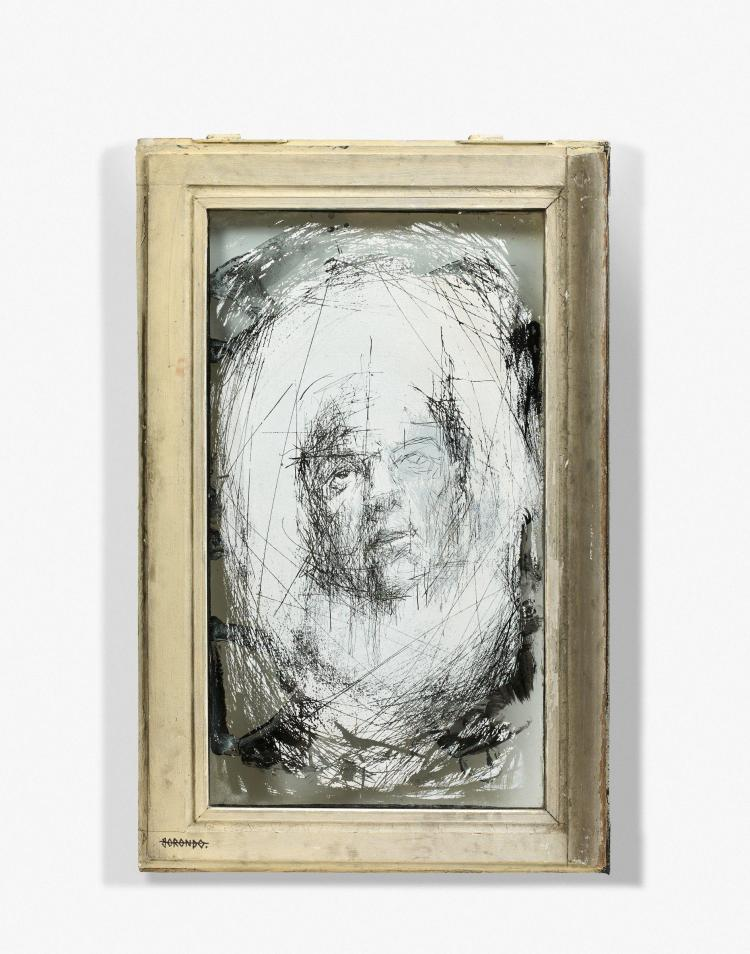 Gonzalo BORONDO Espagnol - Né en 1989 Glass scratching 2 - 2013 Peinture sur verre
