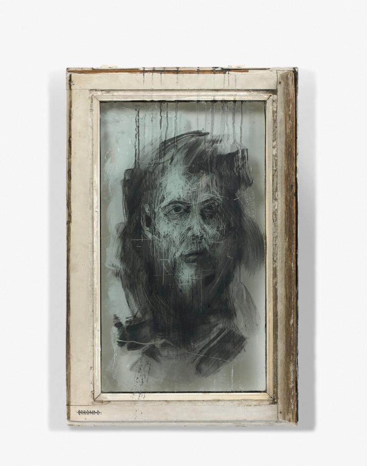 Gonzalo BORONDO Espagnol - Né en 1989 Glass scratching 1 - 2013 Peinture sur verre