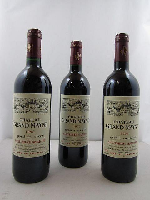 3 bouteilles CHÂTEAU GRAND MAYNE 1996 GCC Saint Emilion