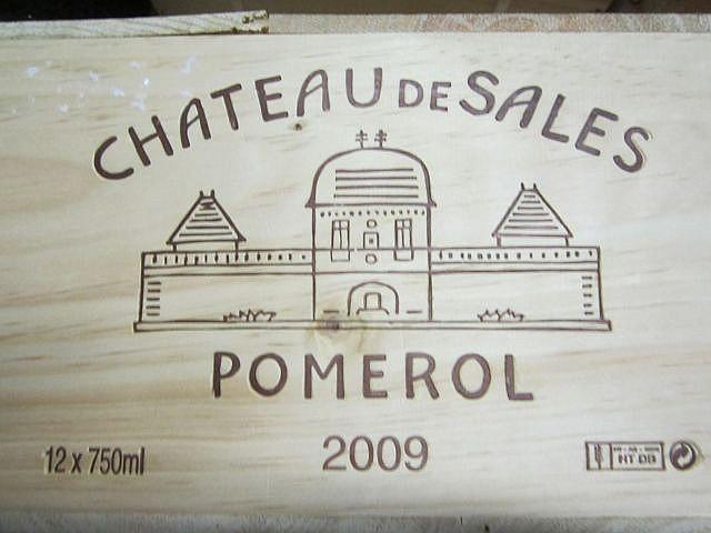12 bouteilles CHÂTEAU DE SALES 2009 Pomerol Caisse bois d'origine