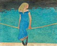 Léon SPILLIAERT (Ostende, 1881- Bruxelles,1946) JEUNE FILLE A LA CORDE, 1911 Gouache et pastel sur carton