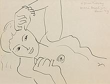 Henri MATISSE (Cateau-Cambrésis,1869-Nice,1954) DINA TORSE, 1941 Dessin à l'encre sur papier