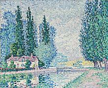 Paul SIGNAC (Paris, 1863- Paris, 1935) AUXERRE, LE CANAL, JUIN 1902 Huile sur toile