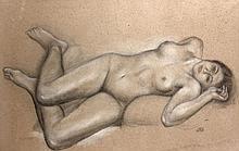Aristide MAILLOL (Banyuls-sur-Mer, 1861 - Banyuls-sur-Mer, 1944) DINA SUR LA RIVIERE, 1938 Pastel, fusain et craie sur papier d'emba..