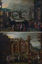 ATTRIBUE A GILLIS VAN VALKENBORCH ANVERS, 1570-1622 LE FESTIN DU FILS PRODIGUE ET LE RETOUR DU FILS PRODIGUE Deux huiles sur toiles...