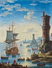ATTRIBUE A ORAZIO GREVENBROECK Paris, 1670 - (?), 1743 MARINE ANIMEE DE PERSONNAGES A L'ENTREE D'UN PORT Huile sur toile