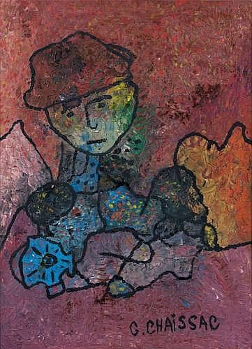 Gaston CHAISSAC (1910-1964) PERSONNAGE CHAPEAUTE, circa 1956-1957 Huile sur toile