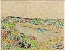 Henry MORET (Cherbourg, 1856 - Paris, 1913) BRETONNES ASSISES AU-DESSUS DE L'AVEN Aquarelle, crayon et fusain sur papier