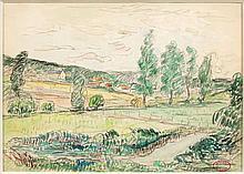 Henry MORET (Cherbourg, 1856 - Paris, 1913) PAYSAGE CHAMPETRE Aquarelle et fusain sur papier