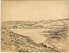 Henry MORET (Cherbourg, 1856 - Paris, 1913) PAYSAGE A LA RIVIERE Fusain sur papier