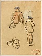 Henry MORET (Cherbourg, 1856 - Paris, 1913) ETUDES DE PERSONNAGE, BRETAGNE Aquarelle et fusain sur papier (recto/verso)