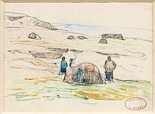 Henry MORET (Cherbourg, 1856 - Paris, 1913) RAMASSEURS DE GOËMON, BRETAGNE Aquarelle et fusain sur papier
