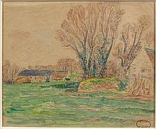 Henry MORET (Cherbourg, 1856 - Paris, 1913) CORPS DE FERMES Aquarelle et crayon sur papier