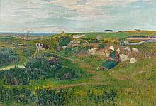 Henry MORET (Cherbourg, 1856 - Paris, 1913) BRETONNE TRICOTANT, 1891 Huile sur toile
