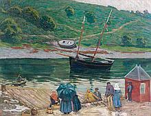 Henri DELAVALLEE (Reims, 1862- Pont-Aven, 1943) LE MARCHE AUX POISSONS, PONT-AVEN Huile sur toile