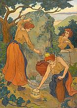 Paul RANSON (Limoges, 1861 - Paris, 1909) TROIS FEMMES ET LEURS POTS A LA FONTAINE ou FEMMES A LA FONTAINE, circa 1897 Huile sur toi...