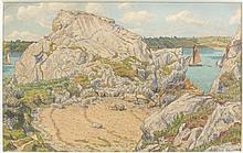 Henri RIVIERE (Paris, 1864 - Sucy-en-Brie, 1951) LOGUIVY, 1906 Aquarelle et crayon sur papier