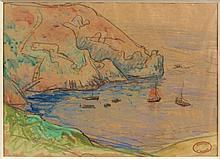 Henry MORET (Cherbourg, 1856 - Paris, 1913) LA POINTE DE BREZELLEC, PRES DE LA POINTE DU RAZ Aquarelle et fusain sur papier