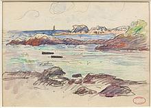 Henry MORET (Cherbourg, 1856 - Paris, 1913) PHARE ET POINTE ROCHEUSE DE PORSPODER Aquarelle et fusain sur papier