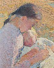 Henri MARTIN (Toulouse, 1860 - Labastide-du-Vert, 1943) JEUNE FLLE TENANT UN BEBE ENDORMI Huile sur panneau