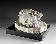 Auguste RODIN (Paris, 1840 - Meudon, 1917) TÊTE DE SAINTJEAN-BAPTISTE DANS UN PLAT, VERSION AVEC TÊTE DE PROFIL, 1887 Marbre blanc