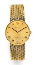 ROLEX CELLINI, réf. 4088/3833/650/651, vers 1980 Montre bracelet en or 18K (750). Boîtier rond. Cadran or avec chiffres romains...