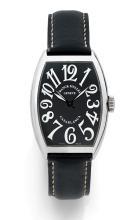 FRANCK MULLER CASABLANCA, vers 2008 Montre bracelet tonneau curvex en acier. Cadran noir avec chiffres arabes et aiguilles lumin...