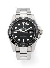 ROLEX GMT MASTER II, réf. 116710, vers 2011 Belle montre bracelet en acier. Boîtier rond. Couronne et fond vissés. Lunette tourn...