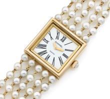 CHANEL MADEMOISELLE, n° 33679, vers 1990 Montre bracelet de dame en or 18K (750). Boîtier carré. Cadran blanc avec chiffres roma...