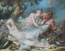 Jacques-Philippe Caresme Paris, 1734 - 1796 Satyre lutinant deux bacchantes Gouache sur trait de crayon
