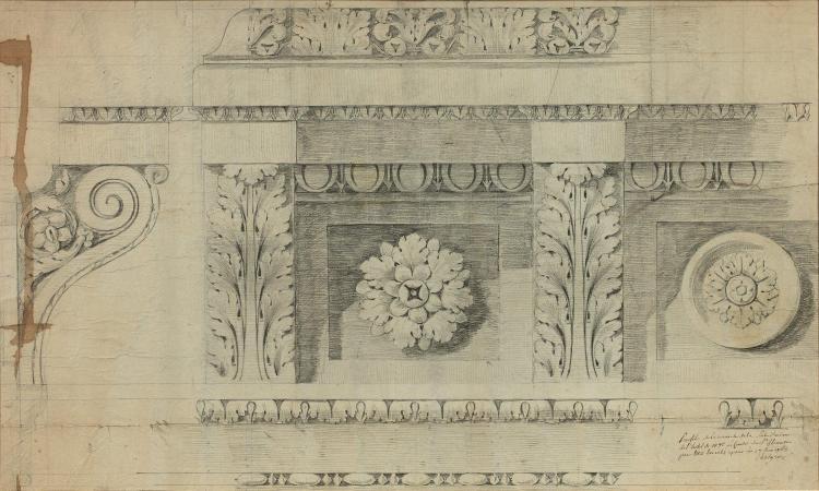 Jean-François Chalgrin Paris, 1739 - 1811 Projet de décor pour une corniche de l''hôtel du comte de Saint-Florentin Crayon noir