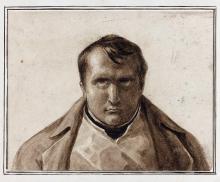 Attribué à Horace Vernet Paris, 1789 - 1863 Portrait de Napoléon vers 1812 Plume et encre brune, lavis brun