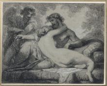 Thomas Couture Senlis, 1815 - Villiers, 1879 Horace et Lydie Fusain et rehauts de craie blanche sur papier gris