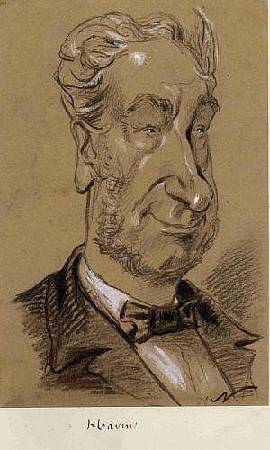 Gaspard Félix Tournachon, dit Nadar Paris, 1820 - 1910 Léonord Joseph Havin (1799-1868), Panthéon Nadar 159 Fusain, estompe et rehau...