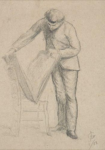 Attribué à Auguste Barthélémy Glaize Montpellier, 1807 - Paris, 1893 L'amateur d'estampes Crayon noir