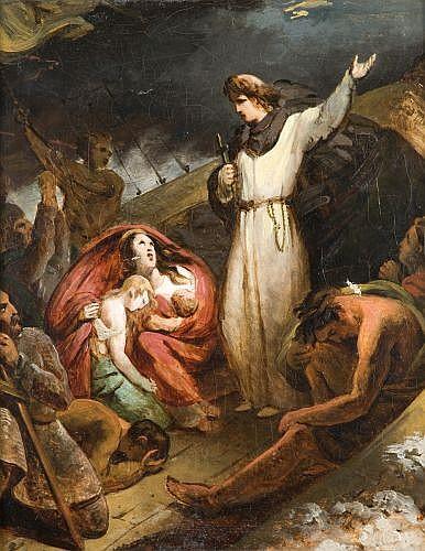 Attribué à Auguste Couder Paris, 1790 - 1873 Saint Dominique sauvant des marchands naufragés dans le Rhône Huile sur toile