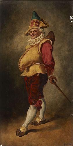 Attribué à Gustave Brion Rothau, 1824 - Paris, 1877 Polichinelle Huile sur panneau,