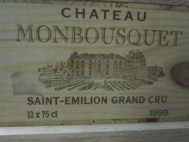 12 bouteilles CHÂTEAU MONBOUSQUET 1999 GCC Saint Emilion Caisse bois d'origine