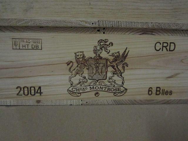 6 bouteilles CHÂTEAU MONTROSE 2004 2è GC Saint Estèphe Caisse bois d'origine