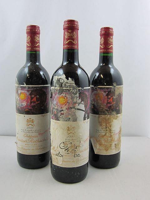 5 bouteilles CHÂTEAU MOUTON ROTHSCHILD 1998 1er GC Pauillac (étiquettes abimées par humidité)