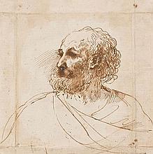 Giovanni Francesco Barbieri, dit le Guerchin Cento, 1591 - Bologne, 1666 Tête d'homme barbu Plume et encre brune